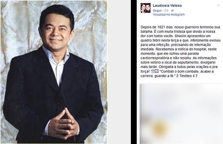 Mulher do humorista Shaolin posta informação sobre a morte do marido (Foto: Reprodução/Facebook)