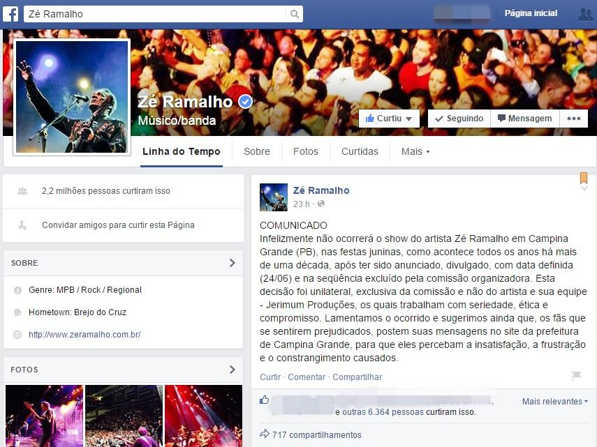 Publicação no perfil de Zé Ramalho critica exclusão do São João de Campina Grande (Foto: Reprodução/Facebook)