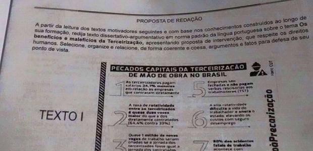 Suposta proposta de redação também percorreu redes sociais (Foto: Marcello Menezes / Arquivo pessoal)