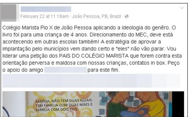 Denúncia feita por pai de aluno em rede social sobre livro paradidático gera polêmica. (Reprodução/Facebook)