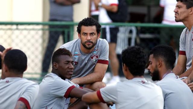Fred em seu primeiro treino com o time após a polêmica com Levir Culpi